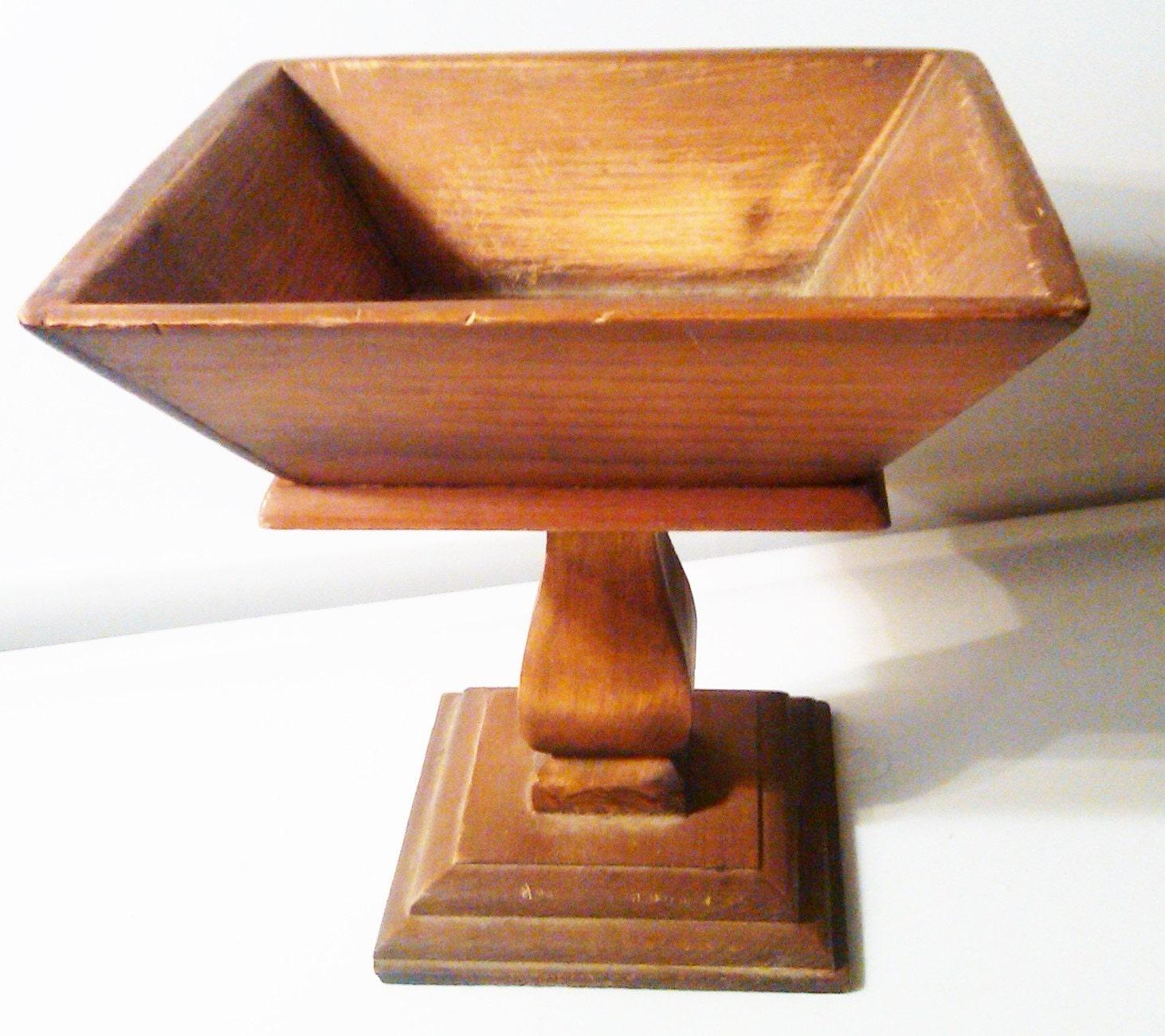 Wood pedestal vase hand carved table centerpiece
