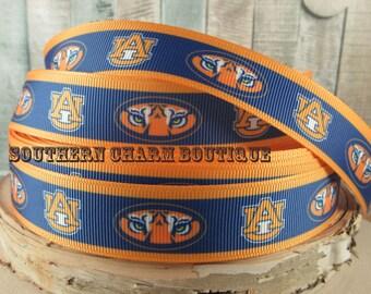"3 yards of 7/8"" Auburn football grosgrain ribbon"