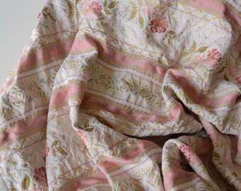 "Lisere Curtain Panel Floral Satin Stripe 82"" x 41"" - 1950s -B3"