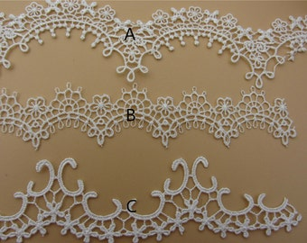 white Vintage necklace Lace trim /  Lace Trim / Solubility Lace / white Lace Trim - 1 Yard,Schiffli Lace,machine-made lace,Chemical Lace