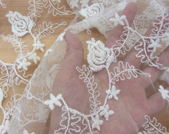 """50"""" wide Floral Tulle rose Lace Fabric White Flowers Embroidered Lace Fabric  Wedding Dress Veil Home Decor Costume Supplies"""
