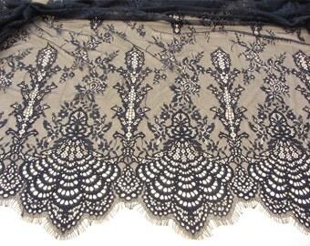 Black eyelash lace fabric  , Chantilly Eyelash Lace Fabric in white  for Wedding Gowns, white eyelash lace fabric,fan lace