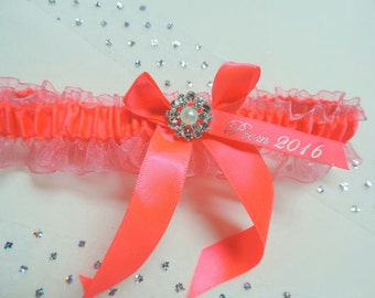 Prom garter, Prom garters, Neon Coral prom garter, Bridal garter, Wedding garter, Garters, Garter, Neon Coral garter