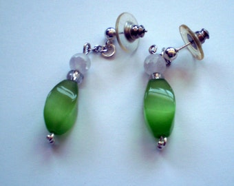 Green and White Post Earrings