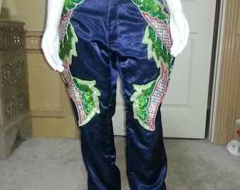 Unique Novelity Deep Blue Embellish waist pants,Fantsasy Pants,Costume Pants,Statement Pants size S/M