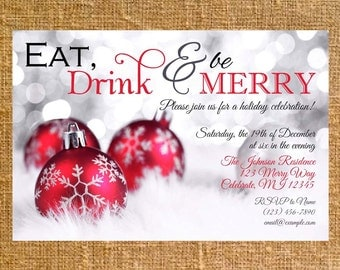 Customized Holiday/Christmas Party Invite - Digital File