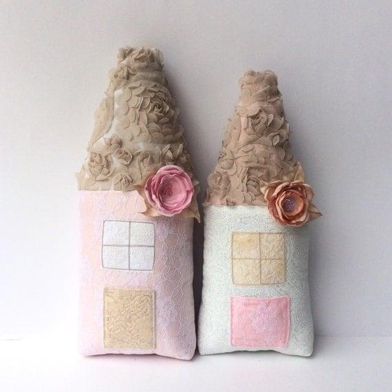 Shabby chic Nursery tooth fairy pillow white by CherryGardenDolls