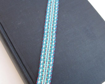 Bookmark - Handwoven inkle band bookmark - Aqua mix