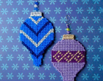 """Plastic Canvas: Christmas Ornaments -- """"Silver and Gold"""" (set of 2)"""