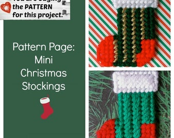 "Plastic Canvas Pattern Page: ""Mini Christmas Stockings"" (2 designs -- graphs and photos, no written instructions) ***PATTERN ONLY!***"
