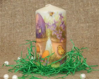 Easter candle decoupage