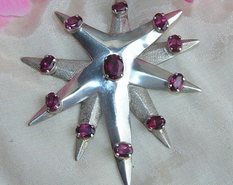 Large 925 Silver Star Pendant with Garnets