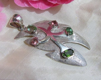 Green and Pink Tourmaline 925 Silver pendant
