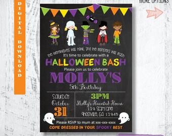 Halloween Invitation. Girls Halloween Birthday Invitation.Halloween Party. Blackboard Halloween Invitation. Chalkboard Halloween Invitation