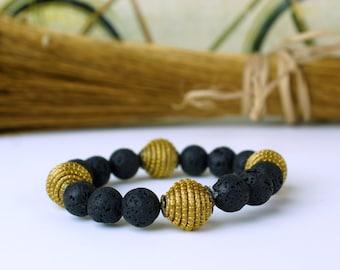 Lava Stone Bracelet, Golden Grass jewelry, Stackable Bracelet, Lava Beaded Bracelet, Lava Rock Bracelet, golden grass Brazil, unisex