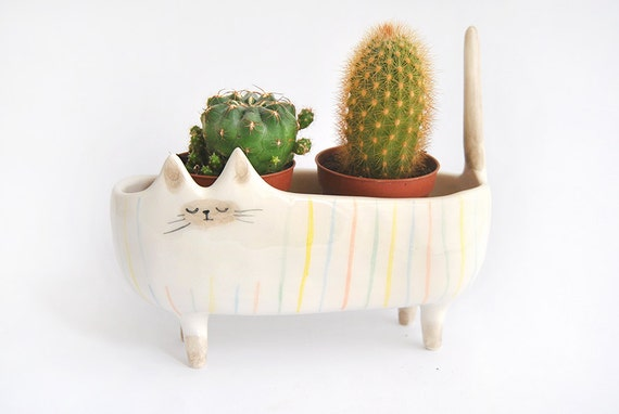 ceramic siamese cat planter