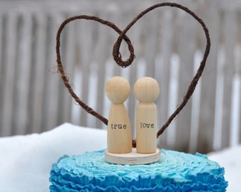 Peg doll cake topper wedding cake topper bride and groom peg people custom cake topper wooden cake topper true love wooden peg dolls rustic