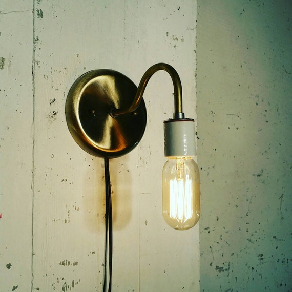 Unusual Kitchen Wall Lights : Brass sconce light lamp-Unique wall light by UrbanIndustrialCraft