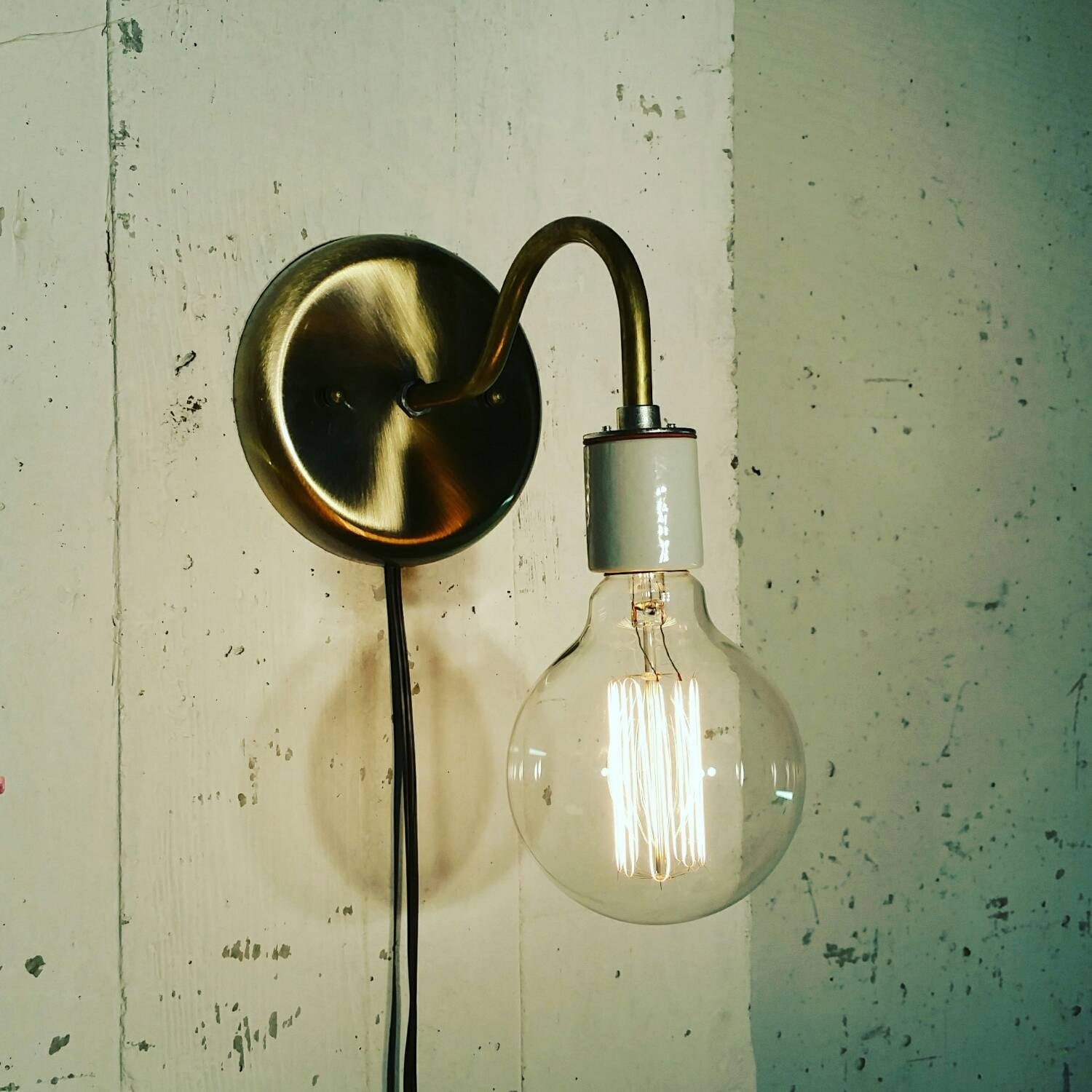 Brass sconce light lamp-Unique wall light by UrbanIndustrialCraft