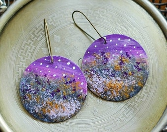 Hand painted mother of pearl earrings with night meadow