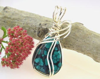 Blue turquoise jewelry - Blue turquoise wire wrapped pendant - Silver wire wrapped turquoise necklace - Turquoise wire wrap pendant