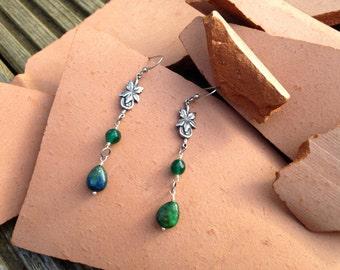 Vintage Green Lapis Lazuli Antique Silver Floral Leaf Drop Earrings