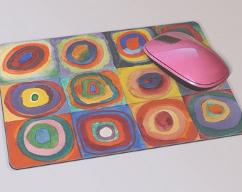 Fabric Mousepad, Mousemat, 5mm Black Rubber Base, 19 x 23 cm - Squares with Concentric Circles by Wassily Kandinsky Mousepad Mousemat