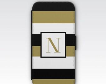 Wallet Case for iPhone 8 Plus, iPhone 8, iPhone 7 Plus, iPhone 7, iPhone 6, iPhone 6s, iPhone 5/5s - Black, White & Gold Stripes Monogram
