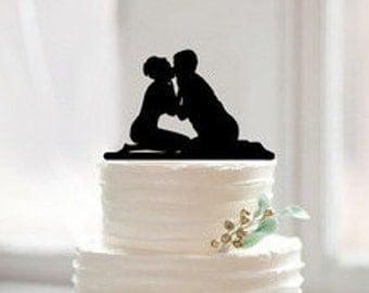 Bride and Groom Shilolette Wedding Cake Topper