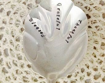 Blessed Grateful Thankful Hand Stamped Vintage Silver Plate Scalloped Casserole  Spoon