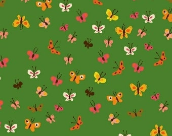 Heather Ross Tiger Lily for Windham Fabrics - Butterflies in Green