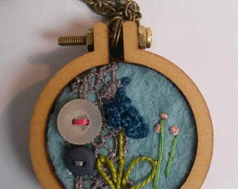 Mini Embroidered Hoop Necklace