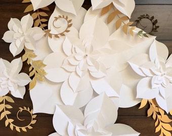 Paper Flower Succulents, paper flower backdrop, paper flower wall