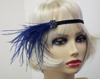 Navy and Black 1920s headband, Flapper headpiece, Roaring 20s dress, Gatsby headband, 1920s Event