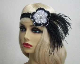 1920s Headband, Gatsby Headband, Flapper Headband, Flapper Headpiece, Great Gatsby, Sequin Headband, Beaded Art Deco, 1920s Hair Accessory