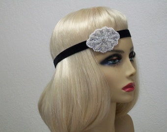 Great Gatsby headpiece, Flapper headband, 1920s headpiece, Roaring 20s, Beaded headband, 1920s hair accessory, Vintage inspired