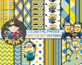 Minion-Digital Papers Minion-Free Clip Art-Scrapbook supplies-Birthday Party-Invitation-Background.