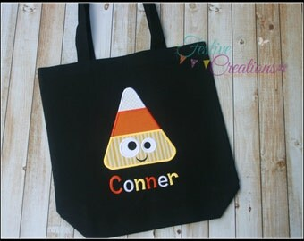 Children's Halloween Trick or Treat Canvas Bag, Candy Corn Halloween Tote Bag, Personalized Trick or Treat Bag, Personalized Halloween Bag