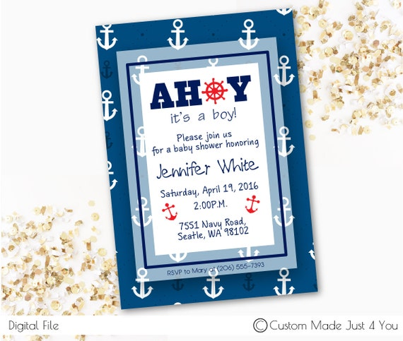cute nautical birthday invitaiton