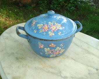 CLEARANCE SALE french antique enamelware pot with lid vintage french enamelware provence blue enamel pot with flowers
