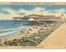 Galveston, Texas Enjoying the Bathing in the Gulf of Mexico Linen Era Old Postcard (Unposted)