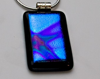 Dichroic Blue and Purple Pendant on Black Fused Glass