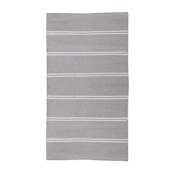 Striped Grey And White Washable Cotton Rag Rug By Skandihome