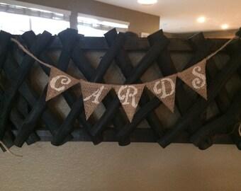 Cards Banner, Cards Burlap Banner, Cards Sign, Wedding Banner, Party Banner