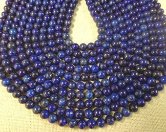 Beautiful 4mm,6mm,8mm and 10mm smooth lapis round gemstone