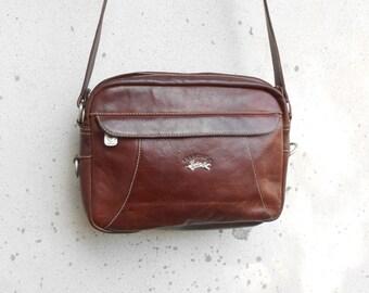 Vintage FRANCINEL PARIS Chestnut Brown Leather Crossbody Bag / Medium