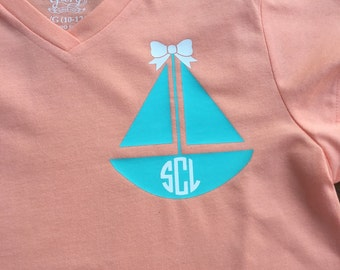 Girls Monogram Sailboat Tee Youth Sizes XS-XL