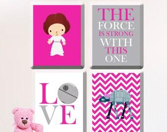 Star Wars Nursery Art- Girl Room Decor R2-D2 and C3-PO - CANVAS  GR-079