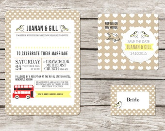 London themed wedding invitation - Red bus