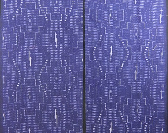 Vintage kimono silk fabric-Blue Ribbon 2360M